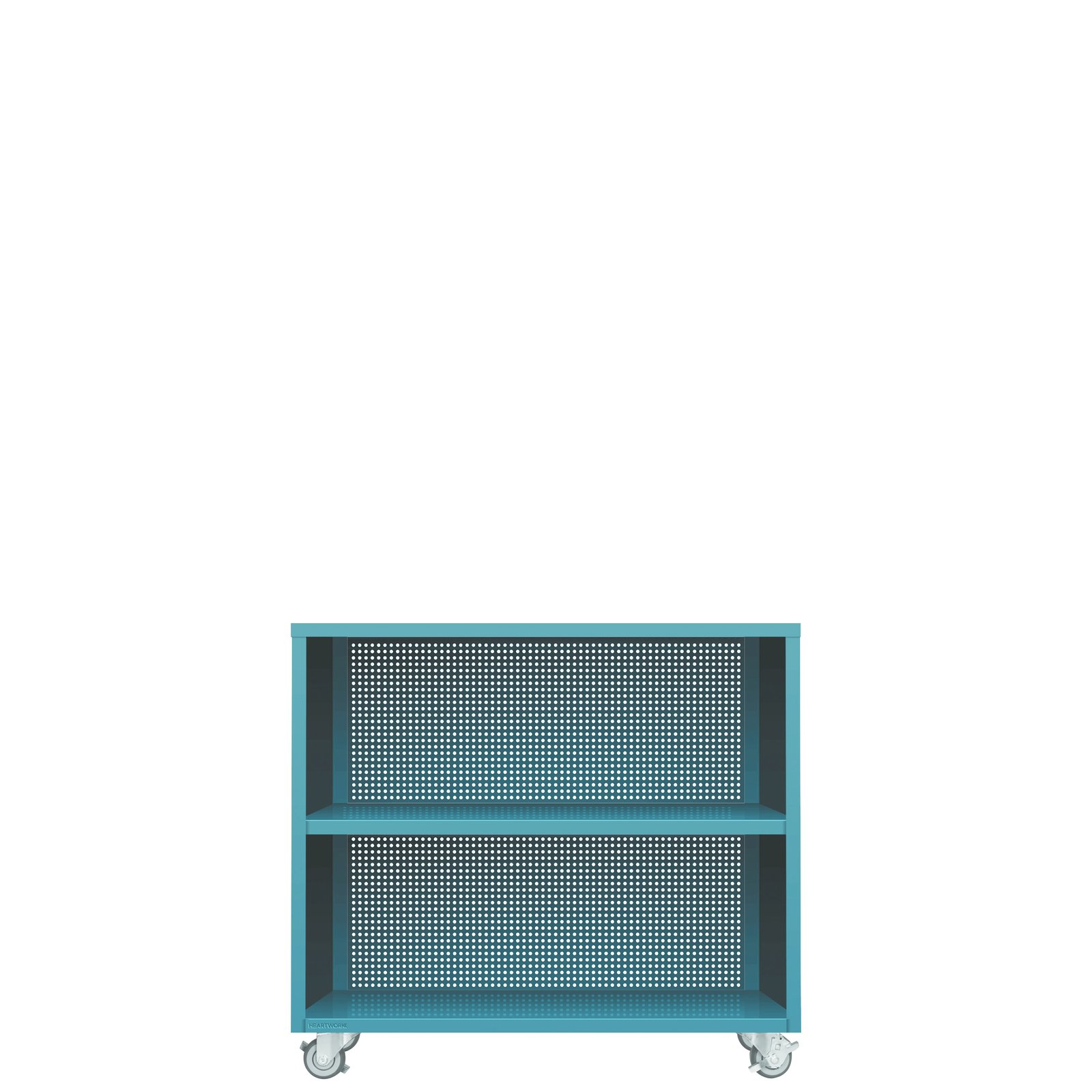 Active duty bookcase (2012) Heartwork Made of heavy-gauge steel and  available in a wide variety of riotous  powder-coated hues by color expert Laura Guido-Clark, each of  Heartwork's storage designs is appropriate for both residential and commercial use. Like most of  the company's products, the Active Duty collection is welded at the company's Kansas factory