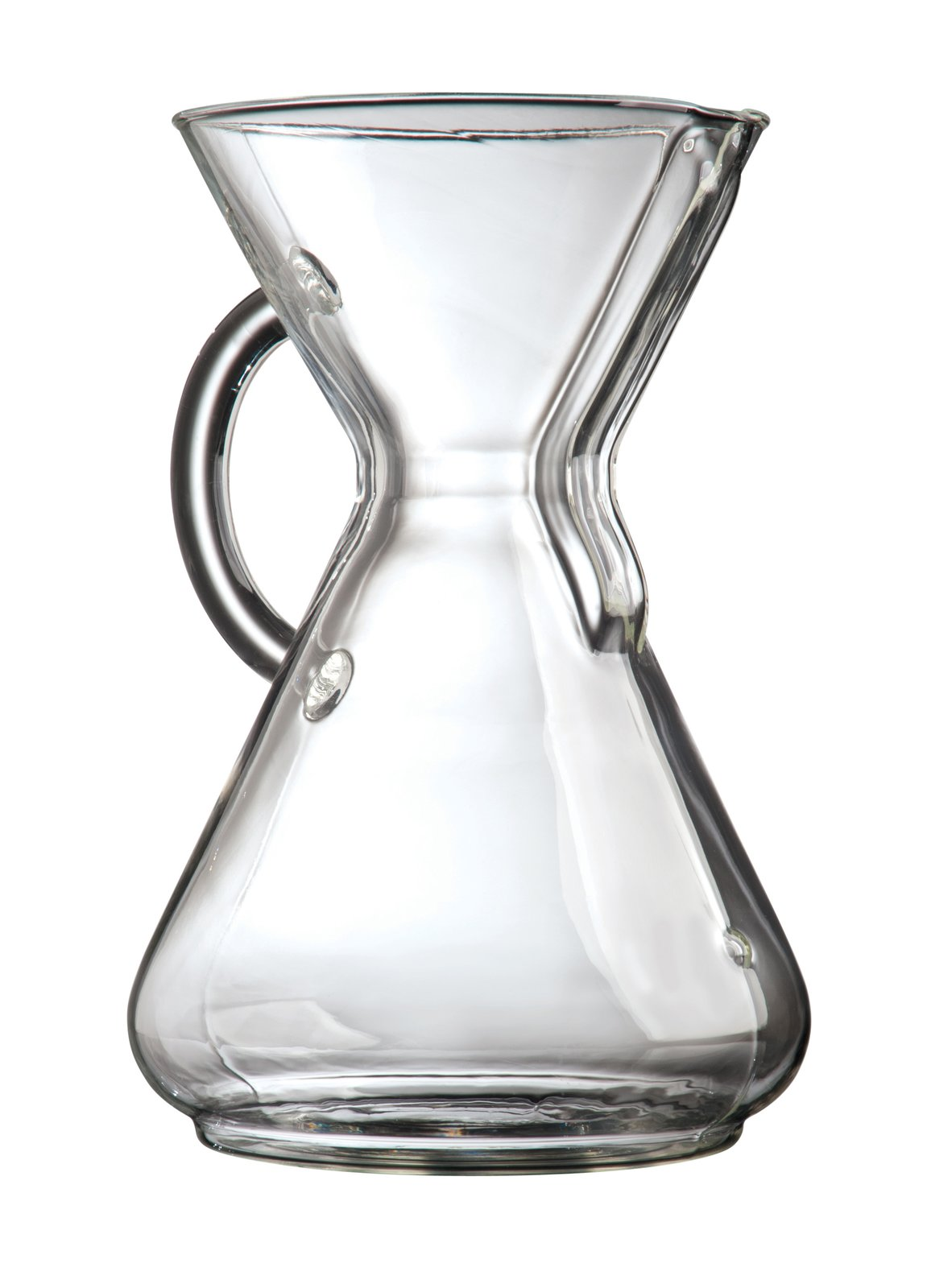 Ten-cup Glass Handle (1941) Chemex Inspired by the Bauhaus and  generic lab equipment, the Chemex coffee maker is made from  a single piece of borosilicate glass. Essentially unchanged since its invention, the piece, produced today  in Massachusetts, is part of the permanent collection at MoMA.