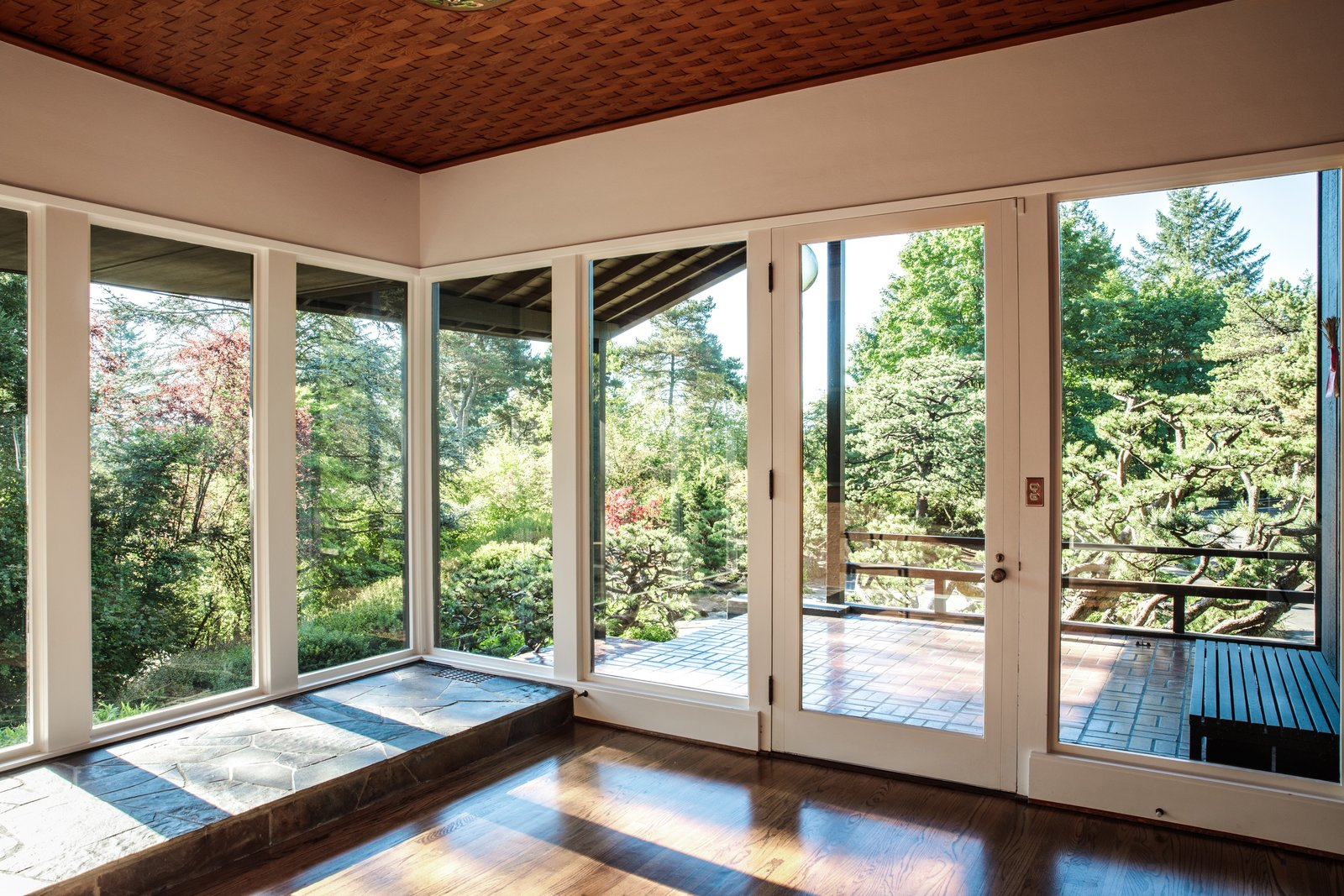 Contractor Patrick O'Neil repaired the woven Douglas fir ceiling in the foyer. Tagged: Windows.  Photo 9 of 15 in Nearly 80 Years Later, an Architect Rescues a Japanese-Inspired  Masterwork Designed by His Father