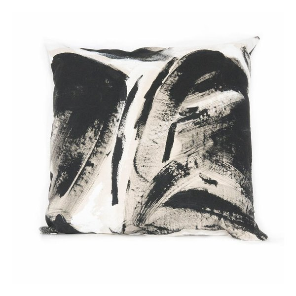 Fort Makers Black Two Hue Painted Square Pillow