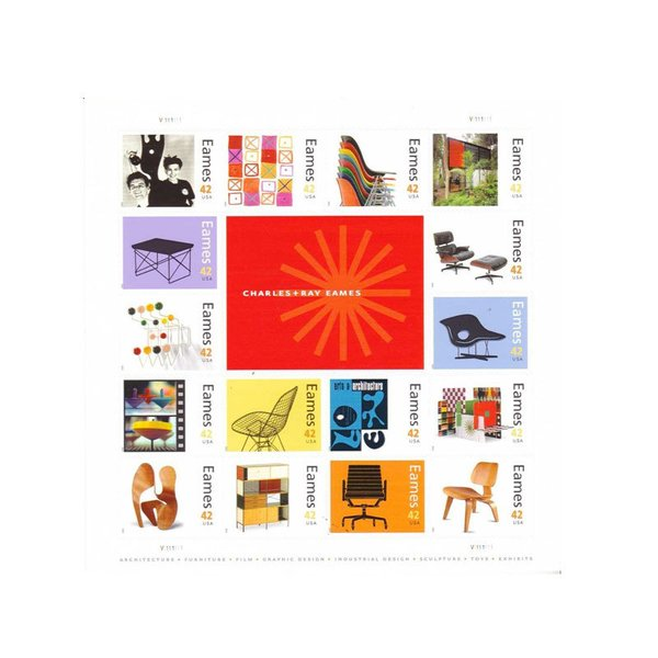 Charles and Ray Eames Collectible Sheet of Sixteen 42 Cent Stamps