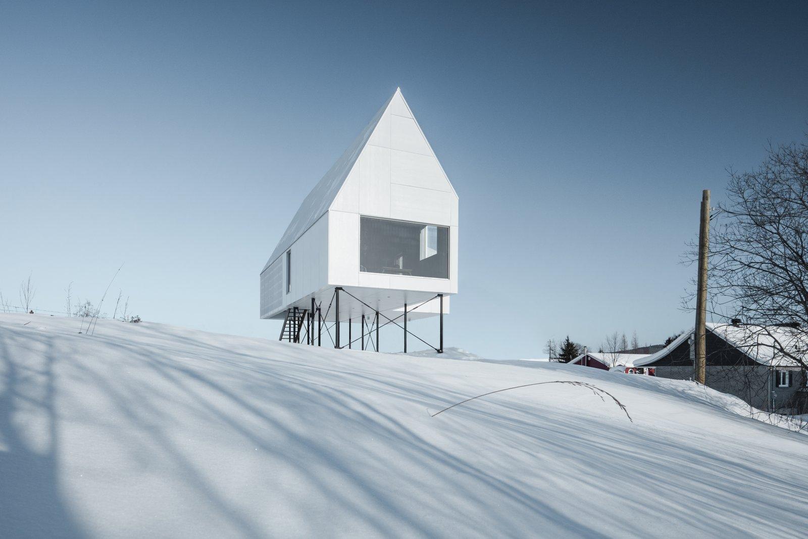 A Minimalist Winter Chalet Stands Tall On Stilts Linda Wright