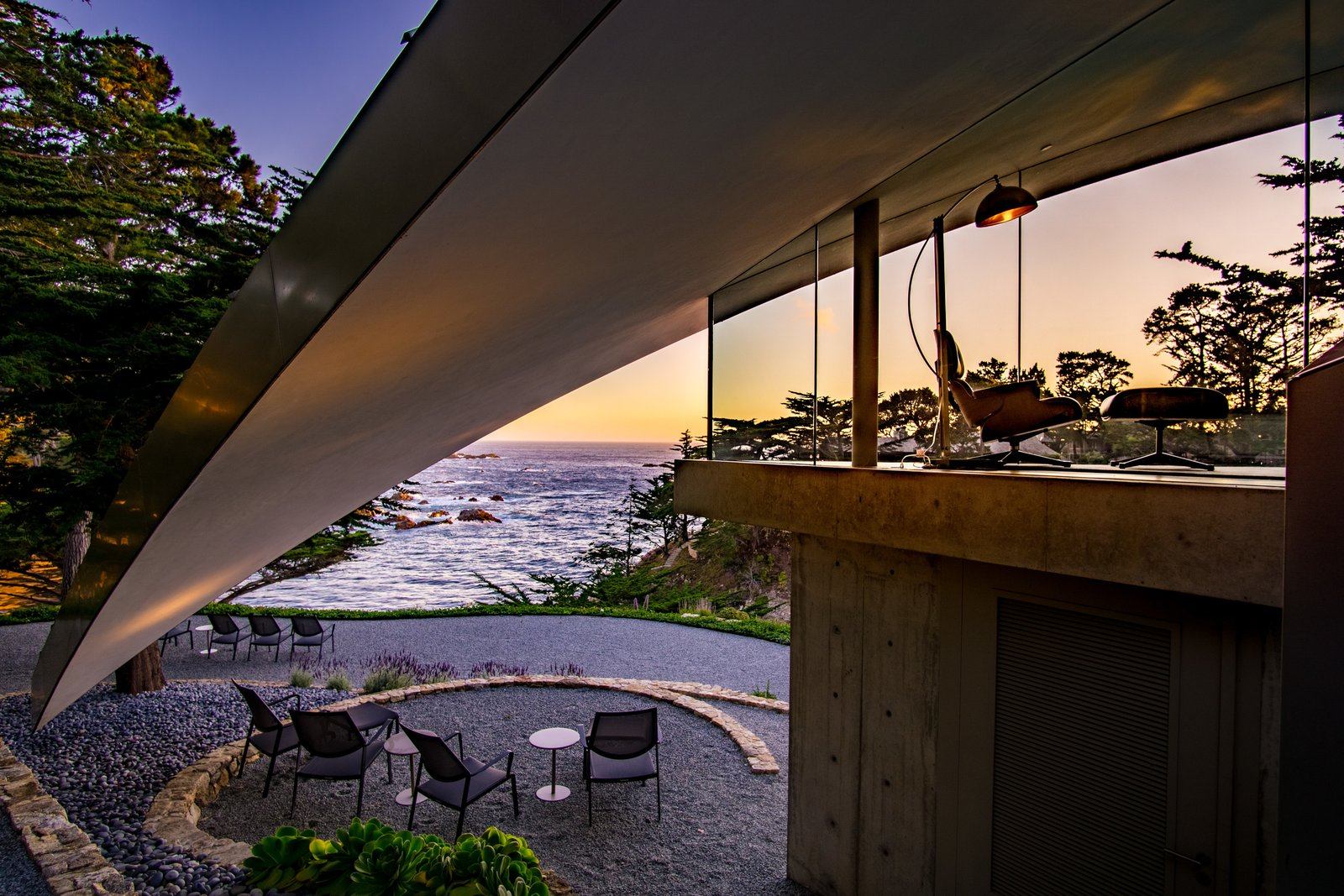 Tagged: Outdoor, Side Yard, and Trees.  Best Photos from We Wish We Had $11.4M to Buy This Oceanfront Wonder in Carmel
