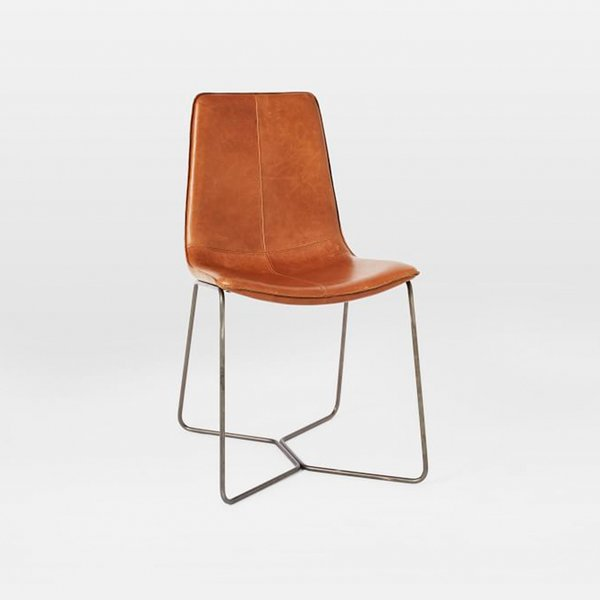 Leather Slope Dining Chair, Saddle by West Elm