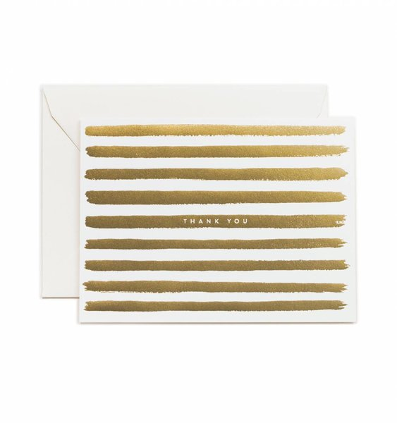 Gold Stripes Thank You Card by Rifle Paper Co.
