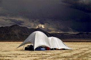 16 Otherworldly Photos of Burning Man Architecture - Photo 5 of 16 - Aluminet fabric over PVC pipes