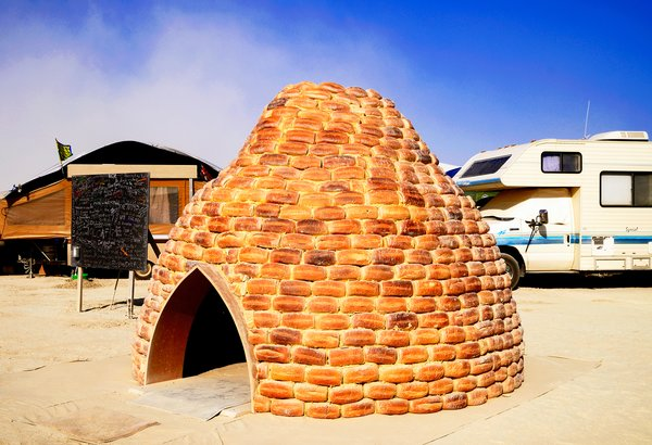 The Loaf Shelter made of 850 loaves of bread