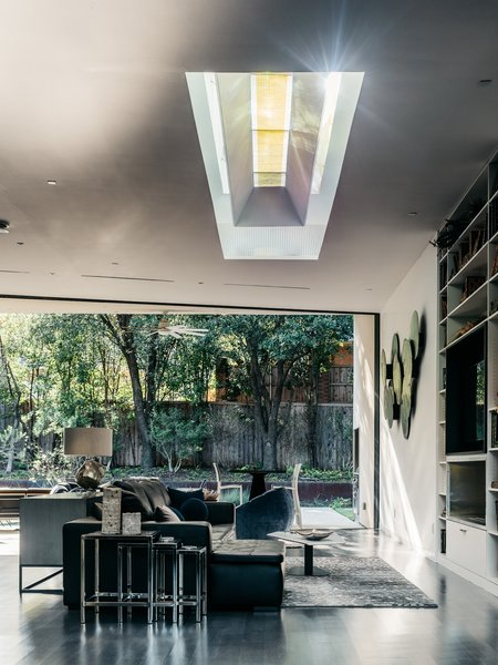 The skylight along with the large opening to the west patio allow the interior of the home to filled with natural light.