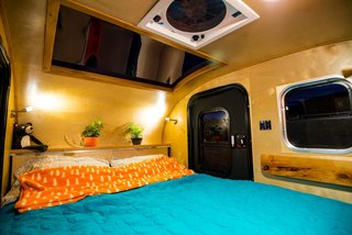 Get Your Glamp On in This Retro Teardrop Trailer - Photo 3 of 7 - The standard trailer comes with a four-inch-thick, dual density foam mattress.