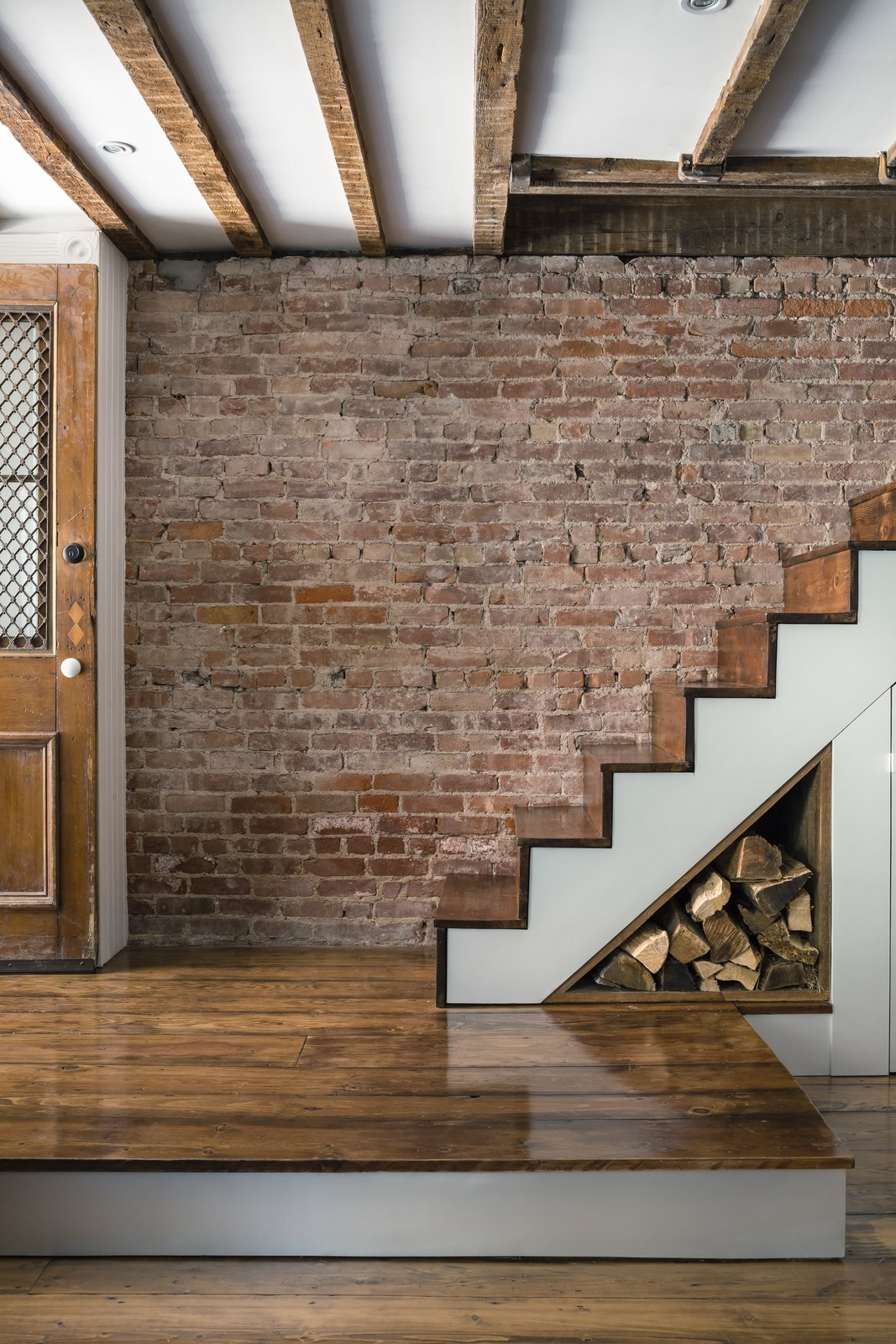 Some floorboards and stair treads were salvaged from a farmhouse.