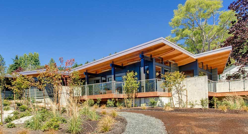 Method Homes is a custom manufacturer of precision–engineered, prefabricated, modern structures that services the Western United States and Canada, including Oregon. Their homes range in size and style, from 1,200-square-foot rustic cabins to 3,5000-square-foot contemporary residences. Method Homes also has an ongoing commitment to sustainable design, with many of their homes eligible for LEED certification and other environmental certifications; some homes can even be designed to be energy net-zero. Tagged: Exterior, Metal Siding Material, Prefab Building Type, and House.  Photo 7 of 7 in 7 Prefab Companies That Oregon Dwellers Should Know