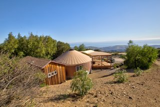This Santa Barbara Yurt Is the Ultimate Place to Recharge - Photo 9 of 9 - The customized yurt, attached hut, and porch are perched atop Refugio Mountain for stunning views.