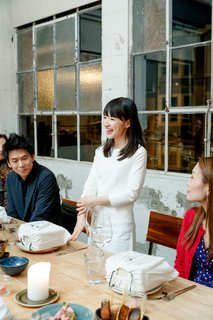 Watch: A Conversation With Decluttering Guru Marie Kondo - Photo 8 of 9 - Marie Kondo gives a speech at dinner with Cuyana and Dwell.