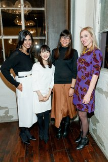 Watch: A Conversation With Decluttering Guru Marie Kondo - Photo 9 of 9 - Cuyana cofounder and CXO Shilpa Shah, lifestyle expert Marie Kondo, Cuyana cofounder and CEO Karla Gallardo, and Dwell founder and CEO Lara Deam pose for a photo after dinner.