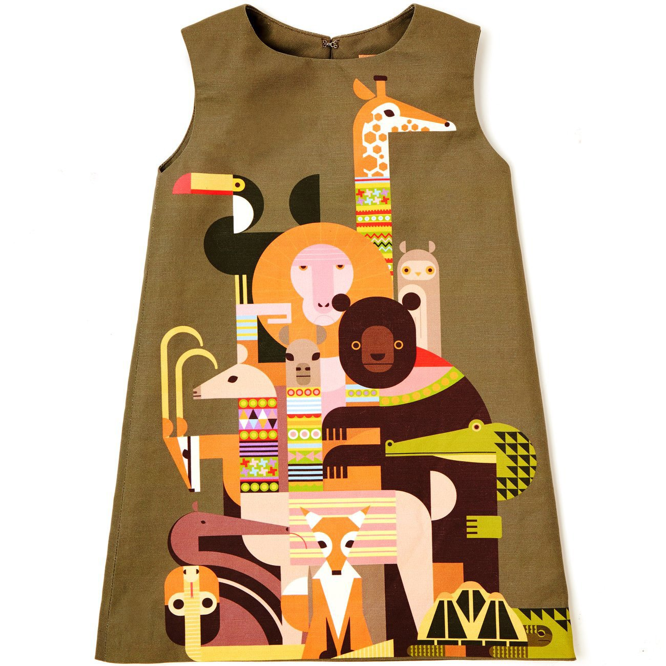Inspired by a series of books, Oldham's arts-and-crafts line, Kid Made Modern, was launched in 2015 and expanded to include clothing like the Menagerie Dress last year. The animal print is by Patrick Hruby, one of several artists Oldham enlisted to create Kid Made Modern coloring books.