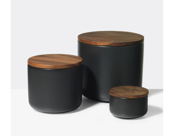 Black Stoneware Containers by Unison