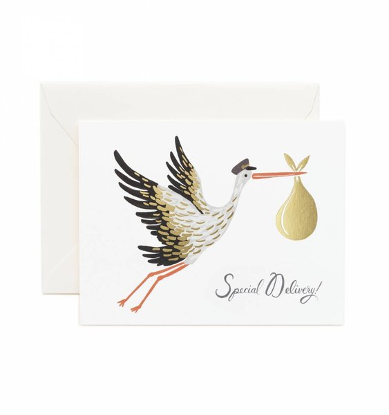 Baby Stork Greeting Card by Rifle Paper Co.