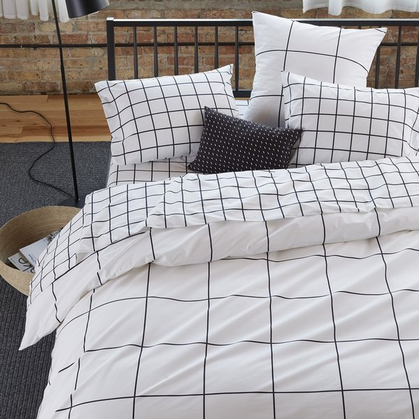 Grid Black Duvet Cover by Unison
