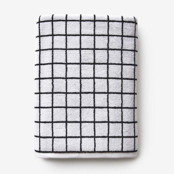 Unison Mini Grid Black + White Bath Towel