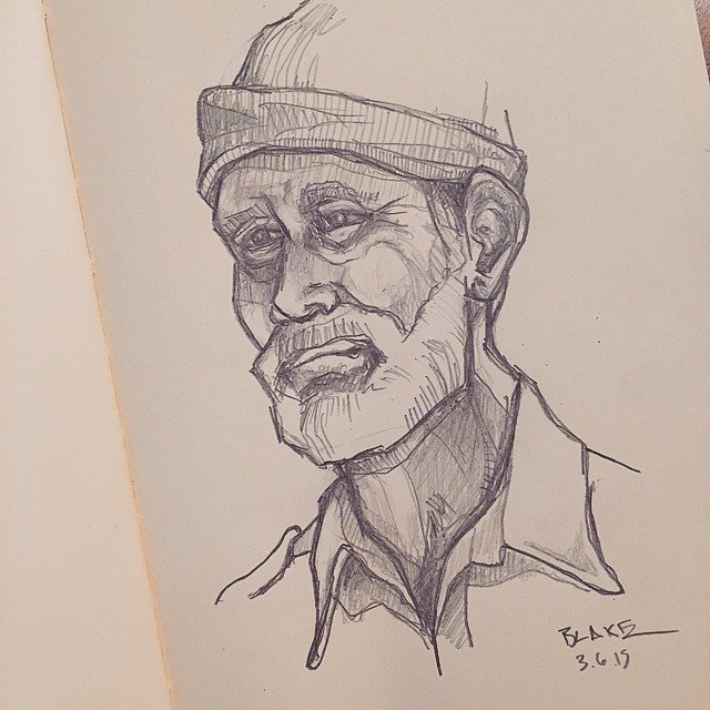 Fisherman #molskine #sketch  Sketchbook by Stephen Blake