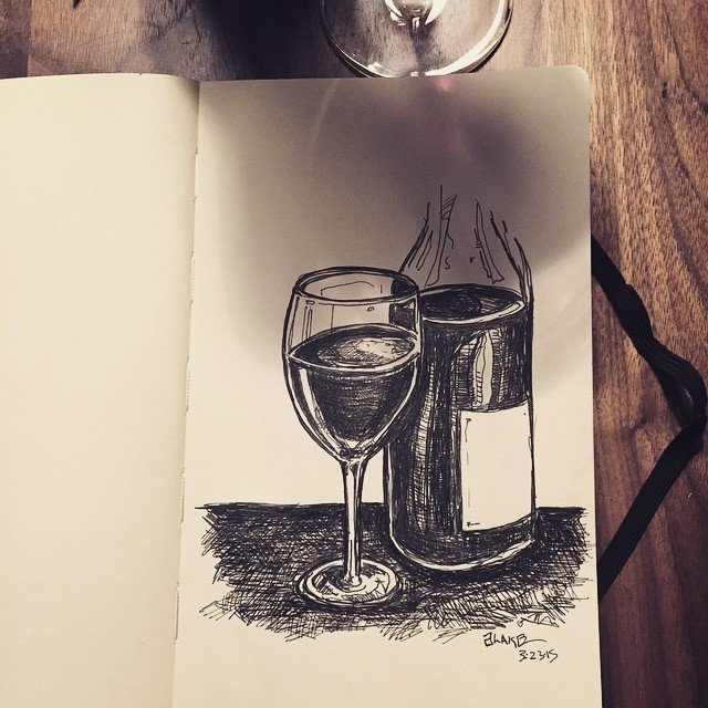 Wino with a pen and a #molskine. #sketch