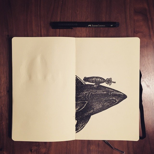 Shark with freakin' lasers #molskine #ink #sketch  Sketchbook by Stephen Blake