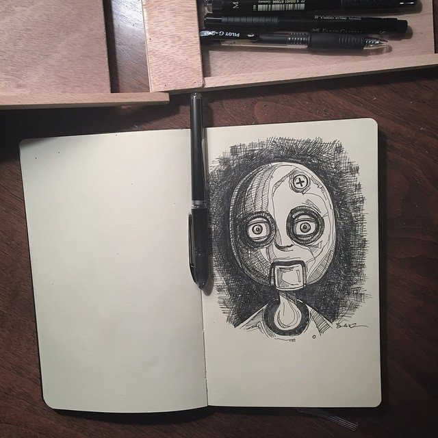 Bolt head, random, pointless #molskine #sketch  Sketchbook by Stephen Blake