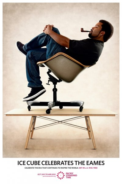Ice Cube Celebrates recreating a classic Eames poster promoting the Art In L.A. Event for Pacific Standard Time.