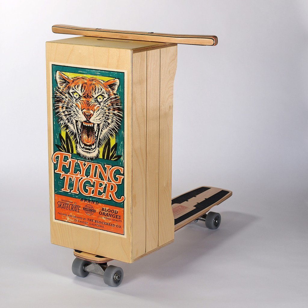 "Skate Crate: ""Flying Tiger brand Blood Oranges vintage fruit crate label inspired (screen printed) graphic on a traditional squared box featuring a retro profile with side cuts, a carrying handle on top and grooves on the sides for a slatted look. High quality lacquer finish on box, deck and handle bars. "" http://skate-crate.myshopify.com/"