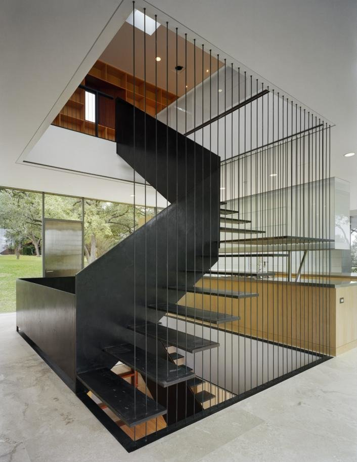 Tagged: Staircase, Metal Tread, and Metal Railing.  Floating Box House by Gluck+