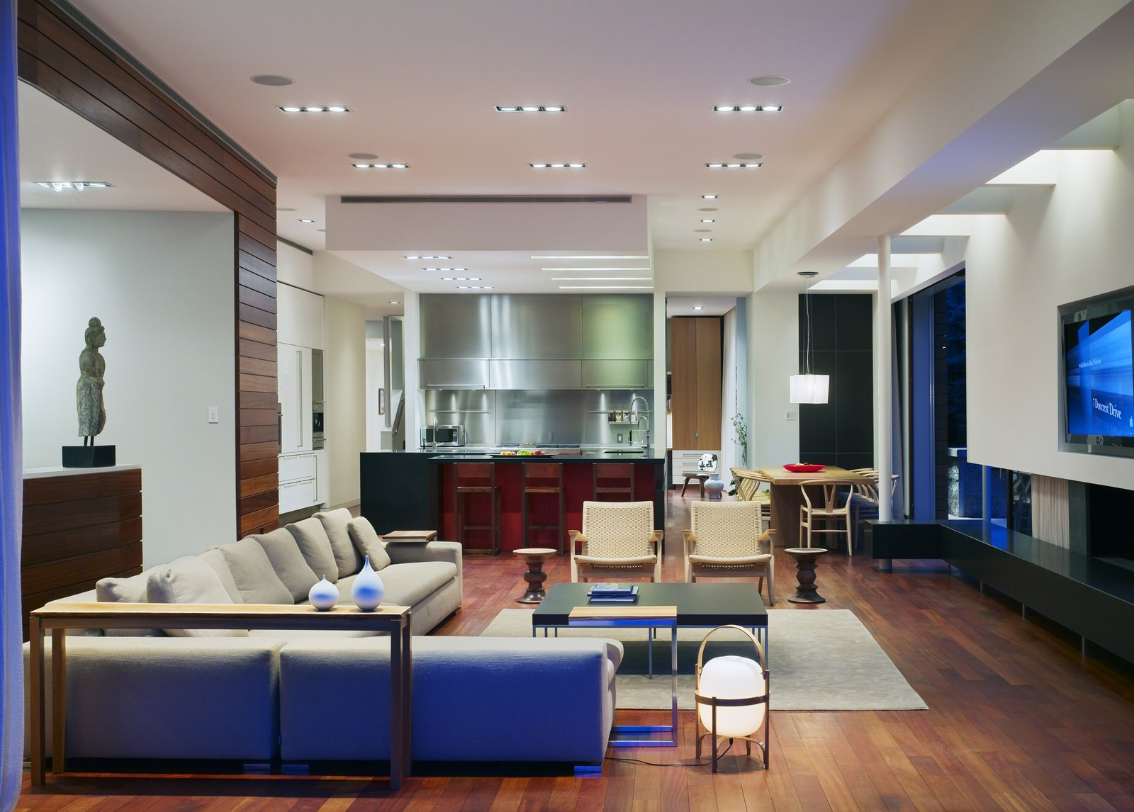 The informal family room sits in the same space as the kitchen.