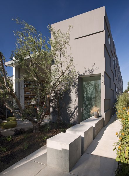 A single linear bar traverses the entire home along the property line and strings the interior spaces together, never breaking.  It begins at the exterior entrance as a concrete partition running perpendicular to the front door.   Photo 2 of Goodman Residence modern home