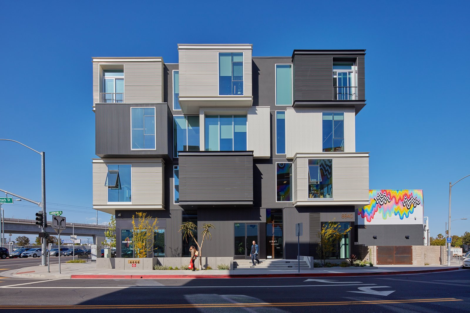 Murals on the white stucco were commissioned works by popular artist Jen Stark.  PLATFORM by Abramson Teiger Architects
