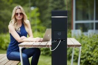 The stations are ideal for outdoor office environments as well as public landscapes.
