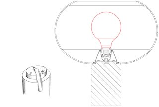 How Rodolfo Dordoni Rebranded Foscarini With a Winning Lamp - Photo 6 of 7 - A sketch of the Buds table lamp shows how the glass shade attaches to the cylindrical plastic base.