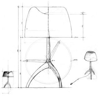 How Rodolfo Dordoni Rebranded Foscarini With a Winning Lamp - Photo 2 of 7 - Sketches of the Lumiere lamp, originally designed by Dordoni for Foscarini in 1990, show the light's signature tripod base. The product helped put the Italian company on the map.