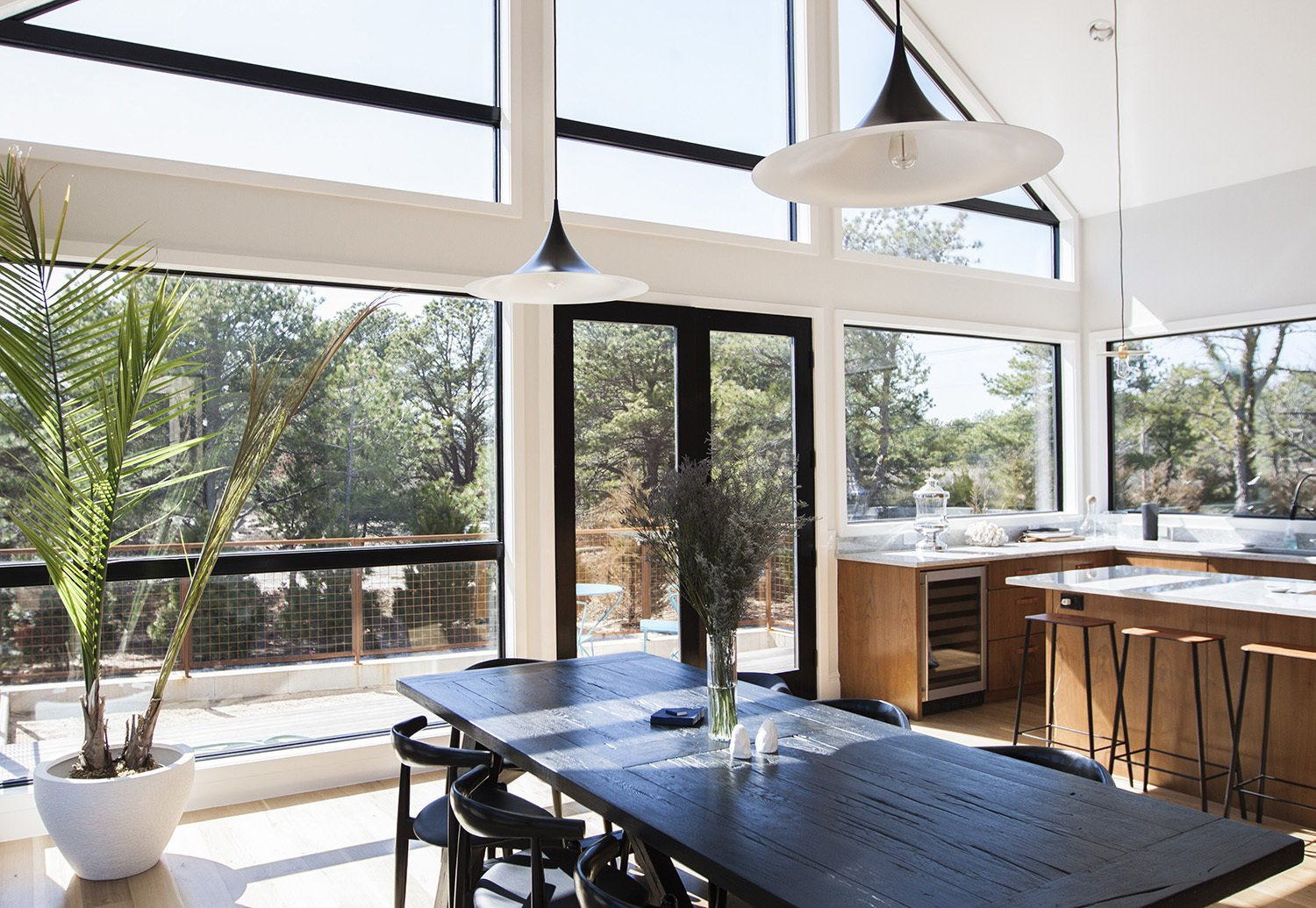 The interior features 16-foot pitched ceilings.