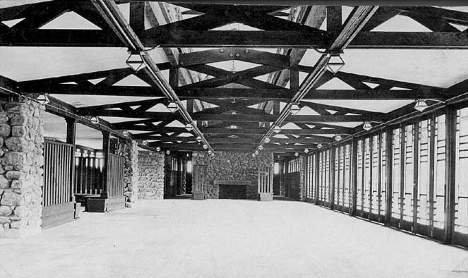An archival view of the pavilion. It featured one long, rectangular room with exposed eaves.  Modern Master: Frank Lloyd Wright by Matthew Keeshin from Demolished Frank Lloyd Wright Structure in Banff May Be Rebuilt