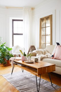 500 Square Feet Is Just Right in Greenpoint - Photo 3 of 6 - The sustainably sourced wood table is also by Brooklyn's From the Source. The couple picked up the rug in Oaxaca, Mexico.