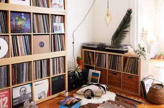 500 Square Feet Is Just Right in Greenpoint - Photo 6 of 6 - Bret's extensive record collection fills a corner of the space.