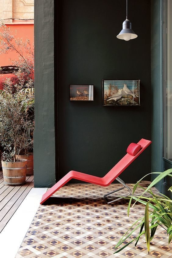 Discovered via Garden Design Magazine; MVS chaise designed by Maarten van Severen for Vitra in 2000  Colorful Intentions by Meg Dwyer from Crazy for Pattern