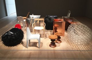 In a special area dedicated to design and architecture, we came across the exhibition titled Carve, Cast, Mold, Print: Material Meditations. It's defined by a study of forward-thinking seating designs that each focus on an interesting use of a singular material and process.