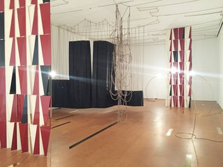 On view until October 2nd is a sculptural and layered exhibit by Leonor Antunes, a Portuguese artist who explores the effects that memory and time have on an experience. She utilized an intriguing mix of materials including leather, nylon yarn, hemp rope, cork, stainless steel, and brass.