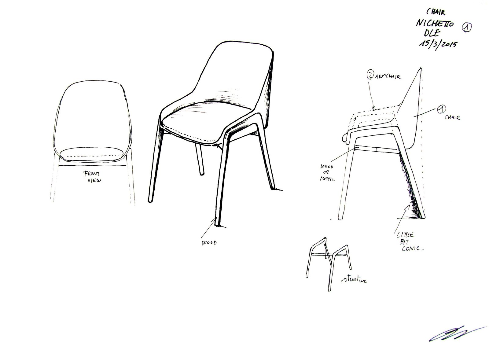 Luca Nichetto's illustrations give us a glimpse into his design process and the various components that went into the development of the Stella Armchair. Bringing Back a Forgotten Material - Photo 2 of 8
