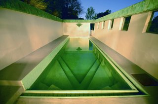 Meet Us in Los Angeles for Our Biggest Home Tour Yet - Photo 7 of 17 - Along with being designated as a Los Angeles Historic-Cultural Monument in 1974, it was acquired by actress Diane Keaton who worked with Josh Schweitzer to remodel the house. The green hue of the copper patina is mirrored in the tile that lines the pool.