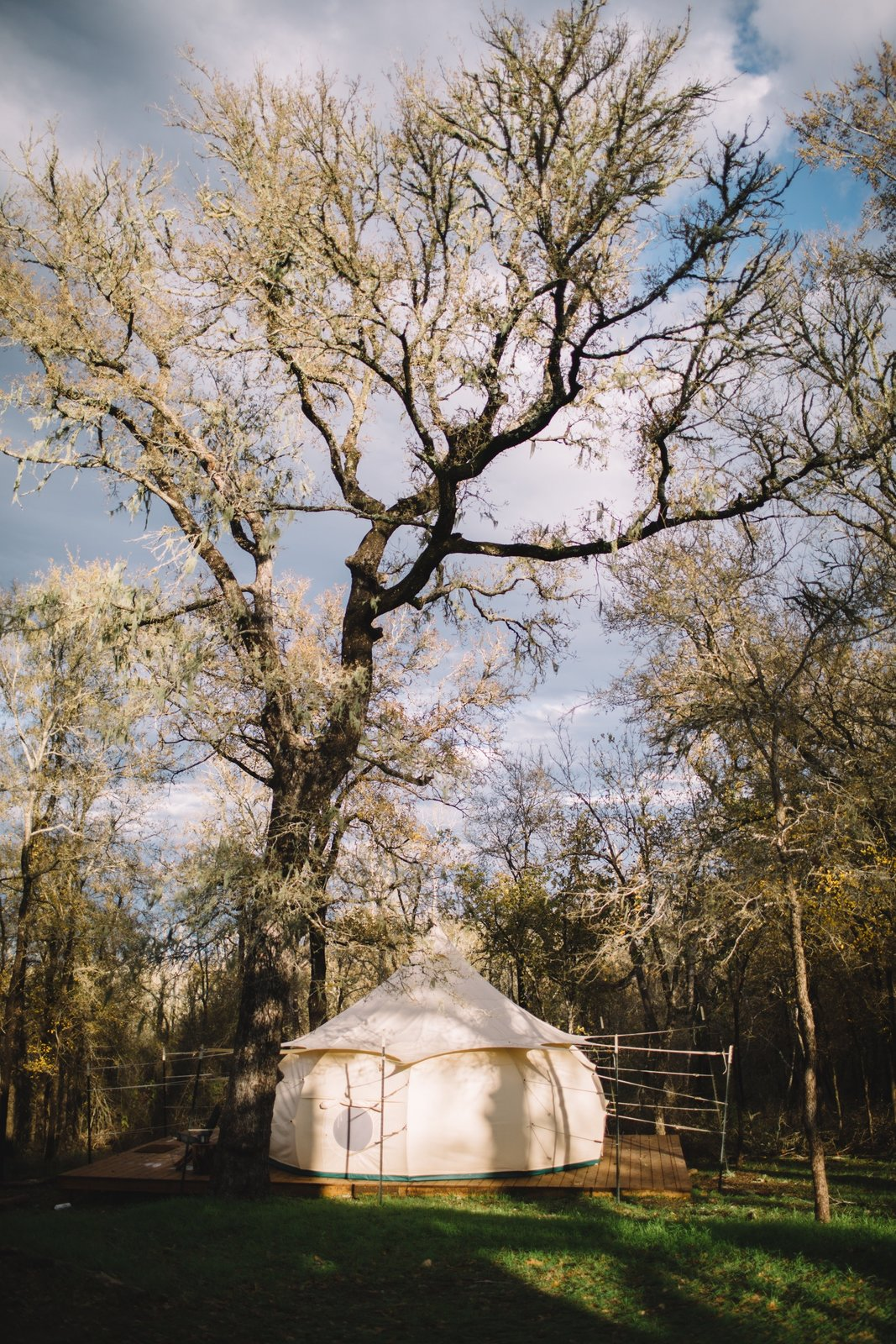Available to rent through Airbnb, Green Acres' yurts are hidden away in a quiet wooded area just outside of Austin, Texas.The campsite takes glamping to a whole new level with roaming animals and numerous activities.