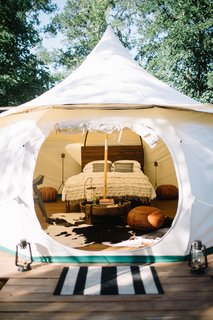 Also available is the Marrakech yurt, which fits two adults with a queen bed and a blow up bed.