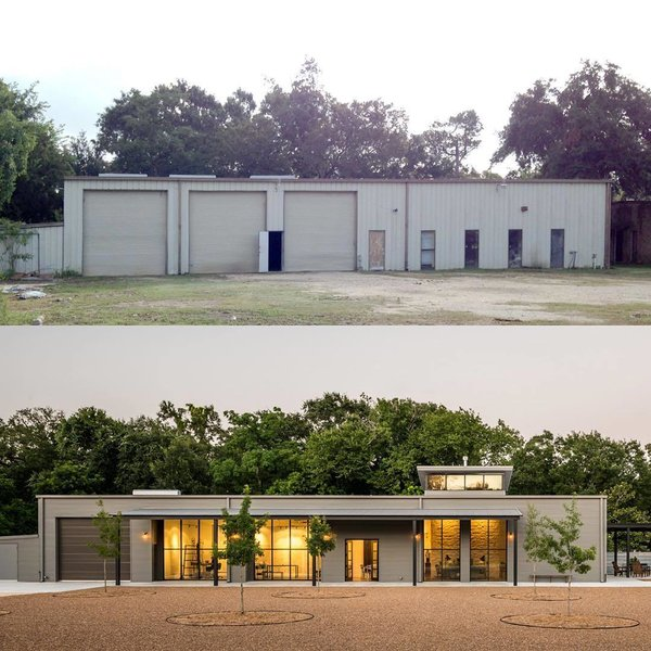 You'd Never Guess This Home Used to Be an Auto Body Shop - Photo 2 of 2 - This before and after shot shows how Content Architecture turned a forgotten auto body shop into a light-filled home for an artist and engineer.