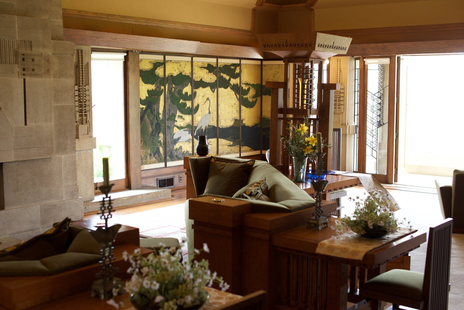 With the approval from Barnsdall, Wright incorporated Japanese influences throughout, including a set of authentic 18th-century Japanese screens. However, since the originals were stolen during the house's dark years, the ones seen here are reproductions.  Photo 5 of 14 in Iconic Perspectives: Frank Lloyd Wright's Hollyhock House