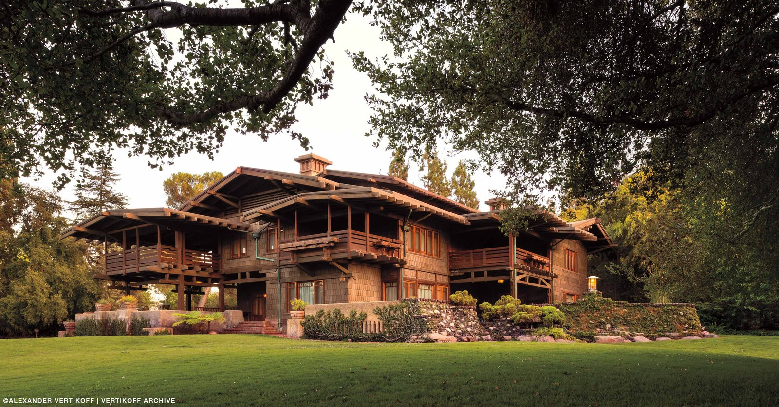 The Gamble House, which was built by the Greene Brothers for the Proctor and Gamble family in 1908, is known as one of the most authentic and well-preserved examples of the Arts and Crafts movement that spread like a wildfire in the Los Angeles neighborhood of Pasadena. Every detail of the the house was crafted by hand with an abundance of natural materials. Photo by Alexander Vertikoff, Courtesy of the Gamble HouseUltimate bungalows Tagged: Exterior, House, Wood Siding Material, and Gable RoofLine.  Photo 2 of 8 in Iconic Perspectives: Greene & Greene's Gamble House